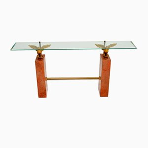 Vintage Marble, Brass & Glass Console Table, 1970s
