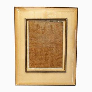Vintage Italian Glass, Rosewood, Brass & Cardboard Frame by Pietro Chiesa for Fontana Arte, 1940s