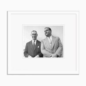 Laurel and Hardy on Vacation Silver Gelatin Resin Print Framed in White by Bettmann