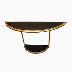 Vintage Italian Console Table with Gilded Iron Frame and Black Glass Top, 1970s