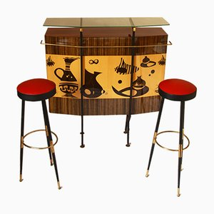 Mid-Century Italian Bar Cabinet and Stools Set, 1950s
