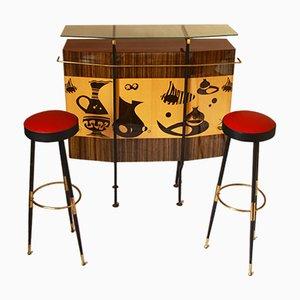 Mueble bar italiano Mid-Century con taburetes, años 50