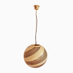 Vintage Italian Swirl Murano Glass Sphere Ceiling Lamp, 1970s