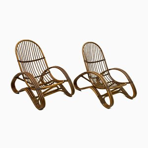 Mid-Century Italian Bamboo Lounge Chairs, 1970s, Set of 2