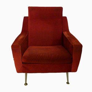 Mid-Century Red Velvet & Golden Compass Feet Lounge Chair