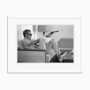 Steve Mcqueen Takes Aim Framed in White by John Dominis