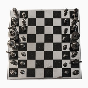 Italian Brutalist Iron and Steel Chessboard with Rosewood Base, 1970s