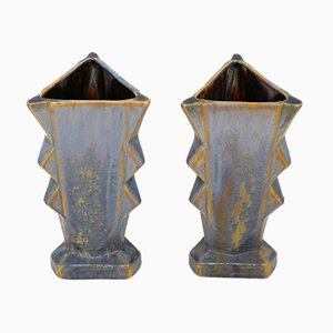 Belgian Art Deco Matte Earthenware with Crystallization Vases, 1920s, Set of 2