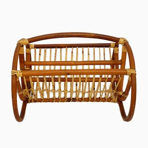 Mid-Century Rattan & Wicker Magazine Rack