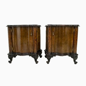 Art Deco Italian Walnut Nightstands, 1920s, Set of 2