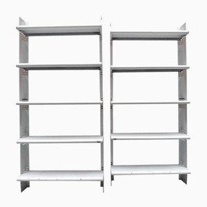 Space Age Italian White Metal Bookshelves, 1970s, Set of 2