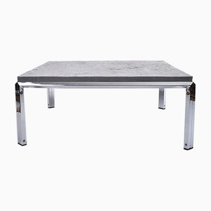 Square Slate Coffee Table with Chrome-Plated Steel Legs, 1970s