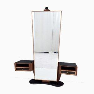 Espejo de recibidor italiano de nogal y arce con cajones superiores de vidrio negro, años 50