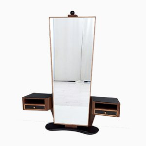 Italian Walnut and Maple Entryway Mirror with Black Glass Top Drawers, 1950s