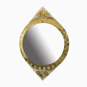 Italienischer Mid-Century Gold Spiegel mit Geschnitztem Rahmen von Cristal Art, 1960er