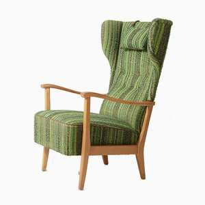 Mid-Century Lacquered Wood & Green Fabric Earmuff Lounge Chair with Scandinavian Style Headrest Cushion from Dux