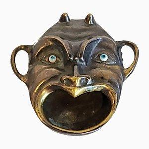Vintage Brass Devil Head with Glass Eyes Ashtray
