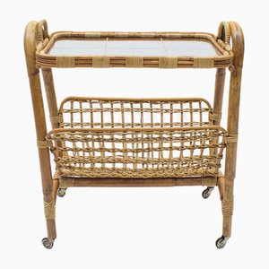 Italian Bamboo and Rattan Bar Cart Serving Trolley, 1950s