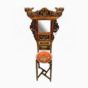 19th Century Chinese Lacquered Wood and Polychrome Decor Side Table