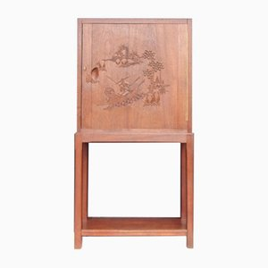 Mahogany Bar Cabinet with Chinese Motif Carving, 1940s