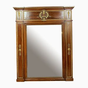 Large Empire French Mahogany and Golden Bronze Trumeau Mirror