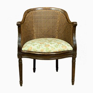 Louis XVI Natural Wood and Wicker Desk Armchair
