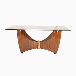Vintage Rounded X Base Redwood Veneer and Glass Coffee Table, 1980s