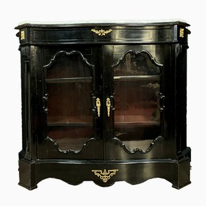 Napoleon III Curved Blackened Wood Display Cabinet