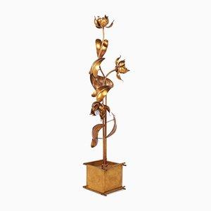 Gilded Metal Floor Lamp by Hans Kögl, 1970s