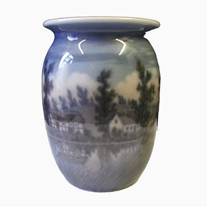 Porcelain Vase with Motif of Danish Landscape by Arthur Boesen for Jensen Dahl, 1930s