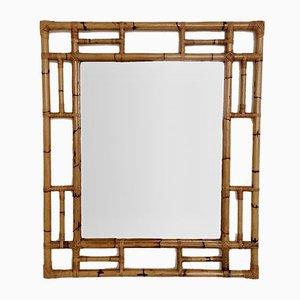 Großer italienischer Mid-Century Spiegel aus Bambus, 1970er