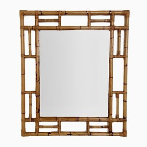 Large Mid-Century Italian Bamboo Mirror, 1970s