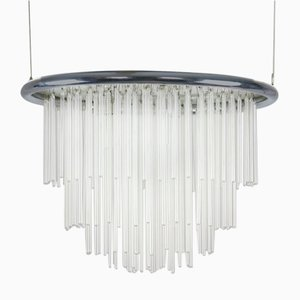 Minimalist Hand Blown Glass Chandelier, 1970s