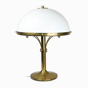 Lampada da tavolo Mid-Century Art Deco in ottone e vetro opalino