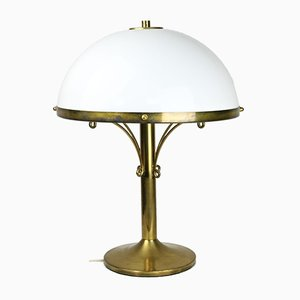 Mid-Century Art Deco Brass Opaline Mushroom Table Lamp