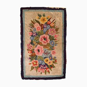 Antique American Hooked Rug, 1880s