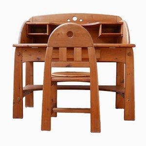 Mid-Century Kiefernholz Schreibtisch und Stuhl Set