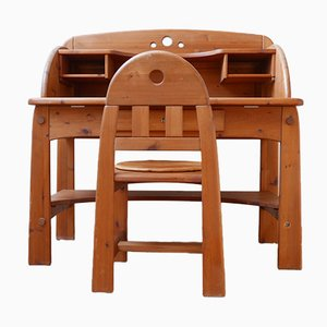 Mid-Century Pine Desk and Chair Set