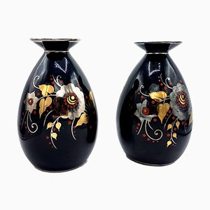 Art Deco Black, Silver, Red & Gold Ceramic Vases by Charles Catteau for Boch Frères, 1933, Set of 2