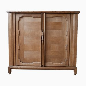 Mid-Century French Oak Bouvine Cabinet by Guillerme et Chambron, 1960s