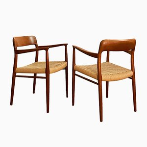 Mid-Century Danish Teak Model 56 Armchairs by Niels Otto Møller for J.L. Møllers, 1960s, Set of 2
