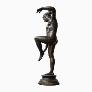 Escultura de bailarina italiana antigua grande de bronce