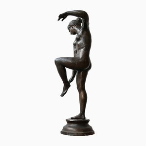 Grande Sculpture de Danseur Elegant Antique en Bronze, Italie