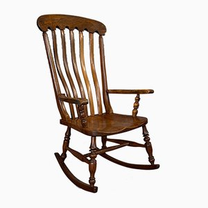 Antique Victorian English Elm and Beech Farmhouse Rocking Chair, 1900s