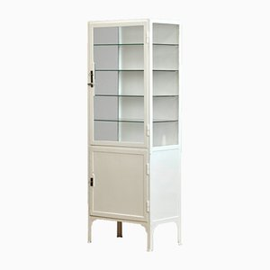Vintage Iron And Glass Medical Cabinet, 1940s