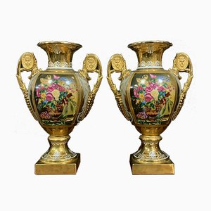 Empire Floral Porcelain Medici Vases, Set of 2