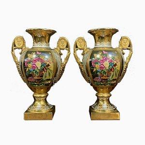 Vases Médicis Empire en Porcelaine Florale, Set de 2