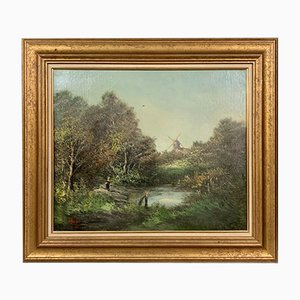 Animated Lake Landscape Oil Painting by Michel Roy Saint-Alban, 1930s