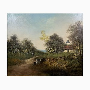 Animated Countryside Oil Painting by Michel Roy Saint-Alban, 1950s