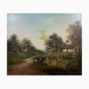 Pintura al óleo animada de campo de Michel Roy Saint-Alban, años 50